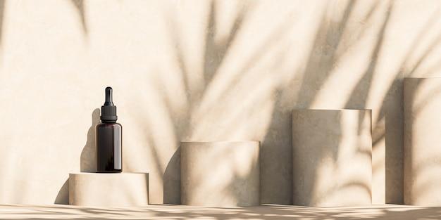 Mockup druppelflesje op cilinderplatform, zonnescherm schaduw tropische planten op muur. abstracte achtergrond voor cosmetische presentatie of advertenties. 3d-rendering