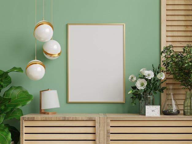 Mockup fotolijst op de houten kast met prachtige planten, 3d-rendering