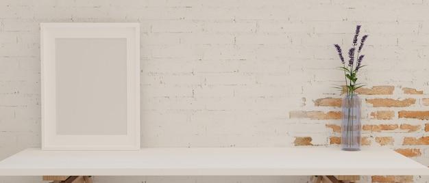 Mockup frame en bloemenvaas op witte tafel met bakstenen muur achtergrond 3d-rendering 3d illustratie