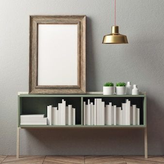 Mockup frame op de boekenplank boeken en decoratie