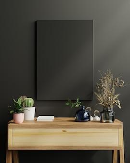 Mockup frame op kast in woonkamer interieur op lege donkere muur achtergrond, 3d-rendering