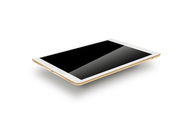 Mockup gouden tablet realistische stijl.