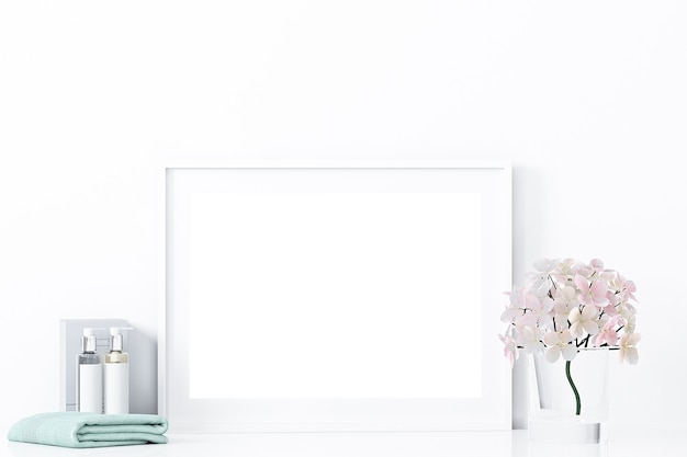 Mockup horizontaal frame en badkamerinrichting