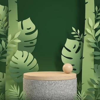 Mockup houten podiumvertoning met groene tropische bos papier kunst concept abstracte achtergrond 3d render