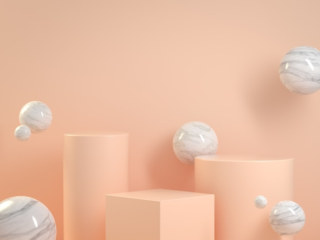 Mockup leeg beige pastel podium met marmeren vlotter abstracte achtergrond 3d render