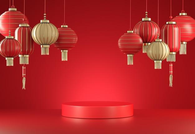 Mockup lege minimale rode display met chinese lantaarn abstracte achtergrond 3d render