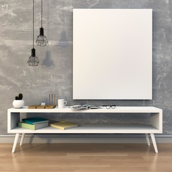Mockup lege poster met bureau en boeken. 3d-rendering
