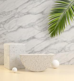 Mockup lege stenen display met palmblad en marmeren muur abstracte achtergrond 3d render