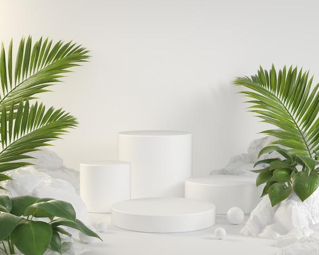 Mockup lege witte podiumcollectie instellen met palmbladeren en tropische planten 3d render