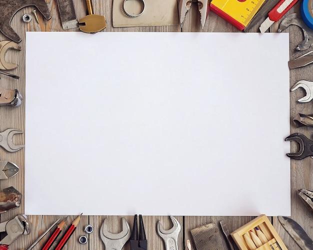 Mockup, maker van scènes. tools op een houten vloer, bovenaanzicht