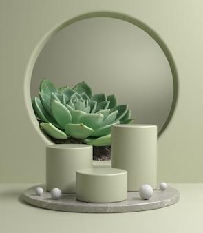 Mockup modern podium set op grijze marmeren basis met tropische plant 3d render