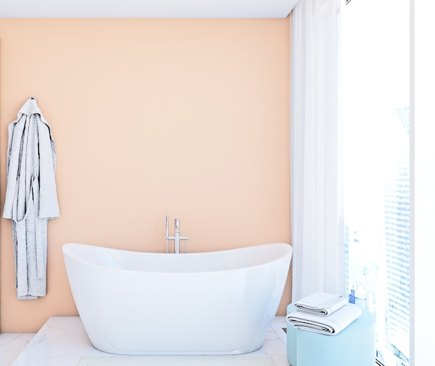 Mockup muur in badkamer in moderne stijl