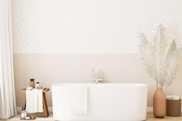 Mockup muur in de badkamer in boho-stijl