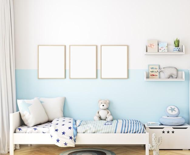 Mockup muur in de kinderkamer jongen frame mockup kinderkamer mockup