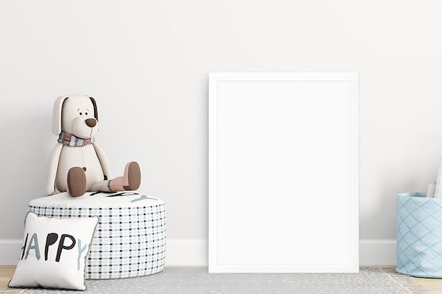 Mockup muur in de kinderkamer op muur beige kleuren
