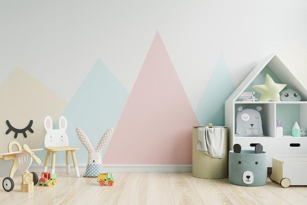 Mockup muur in de kinderkamer op muur in pastelkleuren