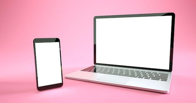 Mockup-ontwerp voor smartphone en laptop op volledig scherm. digitale apparaatset