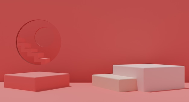 Mockup podium met trappen op roze