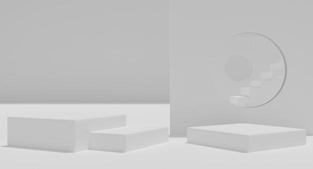 Mockup podium met trappen op wit