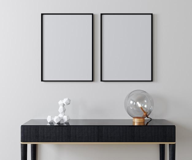Mockup poster frame op moderne interieur achtergrond, scandinavische 3d stijl, render, 3d illustratie