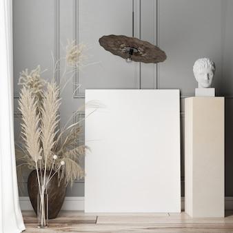 Mockup poster in de woonkamer op de grijze decoratieve muur. scandinavisch design. 3d render, 3d illustratie