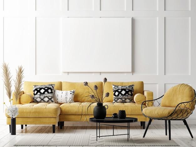 Mockup poster in de woonkamer, scandinavische stijl decoratie, 3d render, 3d illustratie