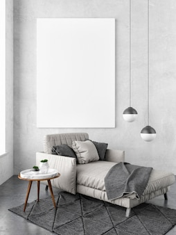 Mockup poster in hipster interieur