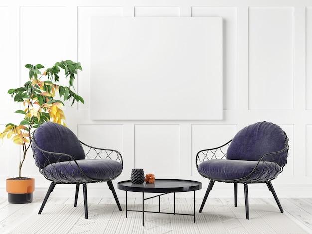 Mockup poster in scandinavische stijl woonkamer design, 3d illustratie