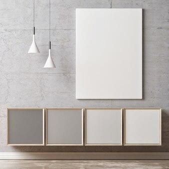Mockup poster met moderne ladekast