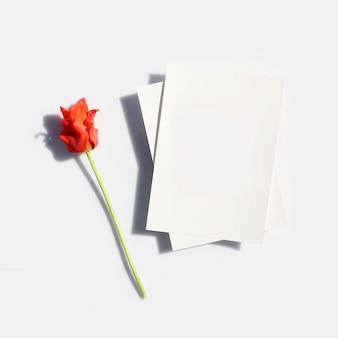 Mockup poster of flyer voor presentatie wit vel papier en rode tulpenbloem met harde schaduw op een grijze achtergrond