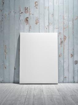 Mockup poster op de blauwe houten muur voor productpresentatie