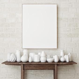 Mockup-poster op een bakstenen muur de eenvoudige scène met wit aardewerk