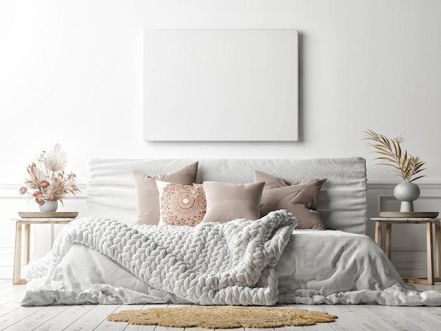 Mockup poster op witte muur met een gezellig bed, witte achtergrond, 3d render, 3d illustratie