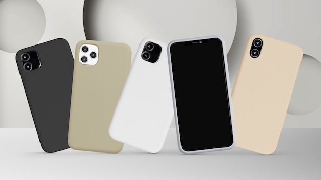 Mockup-productvoorstelling voor mobiele telefoonhoesjes