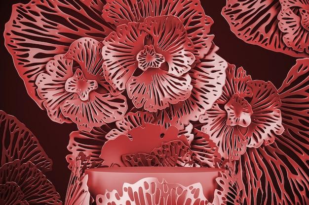 Mockup rode scène voor product- of advertentiepresentatie. rood platform en abstracte bloemachtergrond. 3d-rendering