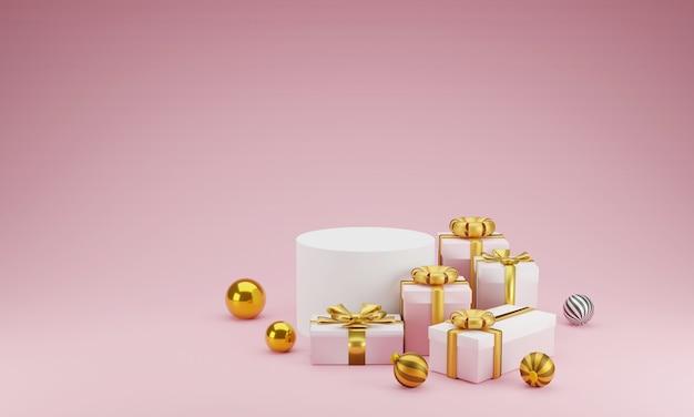 Mockup scène geometrie vorm podium en cadeau voor productvertoning of vieren op roze