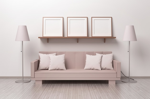 Mockup-sjabloon met drie vierkante frames op een plank in een woonkamer met een bank en twee kroonluchters. 3d illustratie.