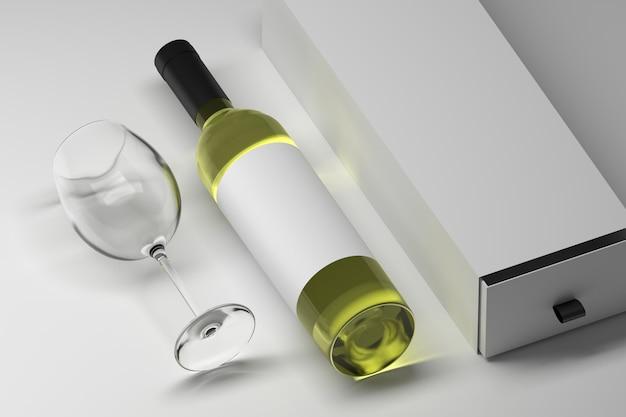Mockup sjabloon van fles wijn alcoholische drank met blanco wit etiket en lange geschenkdoos met transparant glas