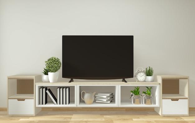 Mockup smart tv, woonkamer met decoratie in zen-stijl