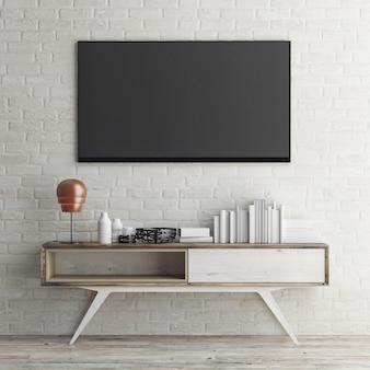 Mockup tv-paneel op de tafel in de zolderruimte
