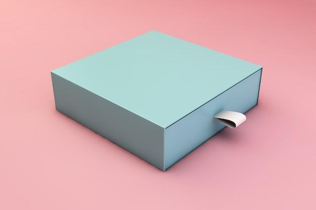 Mockup van blauwe doos