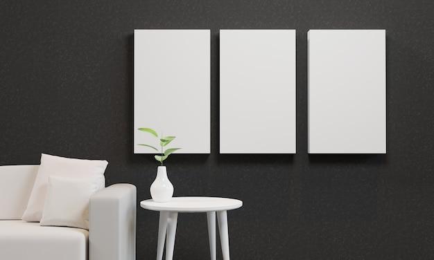 Mockup van drie frames op een zwarte muur met een witte bank en een plant op een tafel
