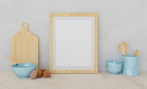 Mockup van een houten frame met keukenaccessoires en eieren aan de zijkanten
