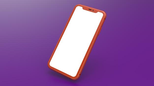Mockup van een oranje mobiele telefoon met een paarse achtergrond met kleurovergang. perfect voor het plaatsen van afbeeldingen van websites of applicaties.