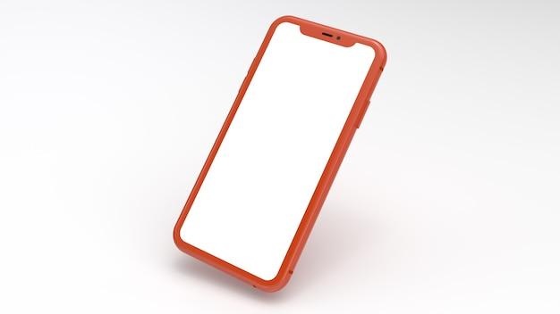 Mockup van een oranje mobiele telefoon met een witte achtergrond. perfect voor het plaatsen van afbeeldingen van websites of applicaties.