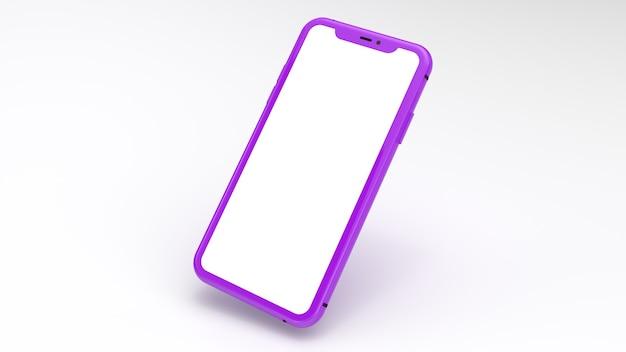Mockup van een paarse mobiele telefoon met een witte achtergrond. perfect voor het plaatsen van afbeeldingen van websites of applicaties.