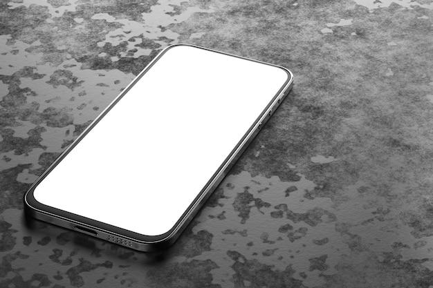 Mockup van een smartphone met een wit scherm op een donkere betonnen achtergrond. 3d-weergave.