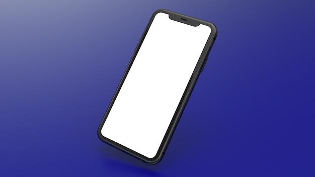 Mockup van een zwarte mobiele telefoon met een blauwe achtergrond met kleurovergang. perfect voor het plaatsen van afbeeldingen van websites of applicaties.