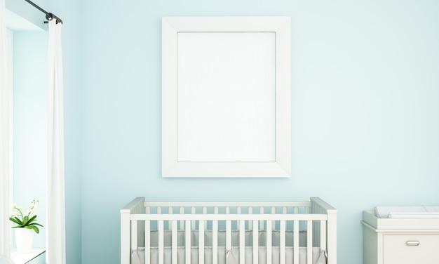 Mockup van frame op blauwe babykamer