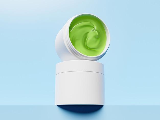 Mockup van groene aloë vera gezichtscrème potten met blauwe achtergrond Premium Foto